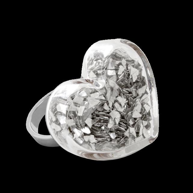 Glass ring - Coeur Medium Paillettes