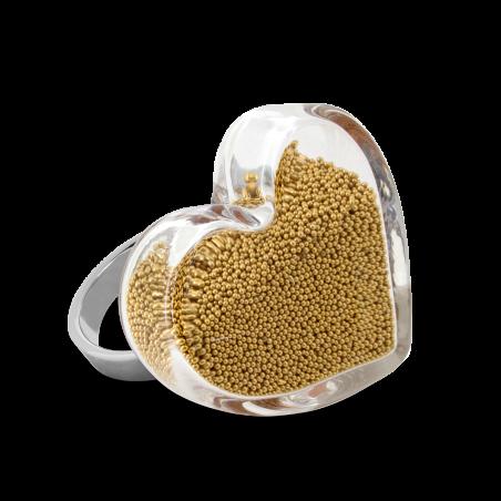 Bague en verre soufflée - Coeur Medium Billes