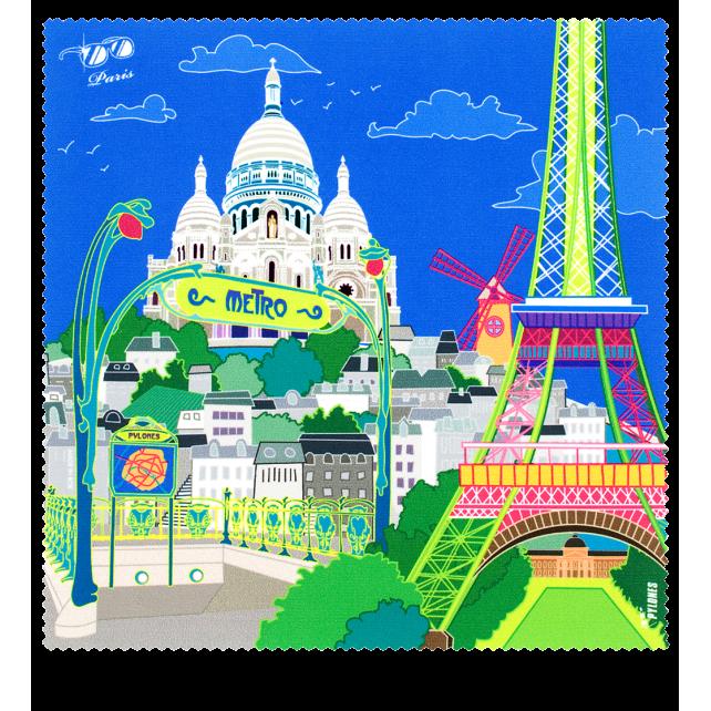Belle Vue - Tissu microfibre pour lunettes Paris Bleu