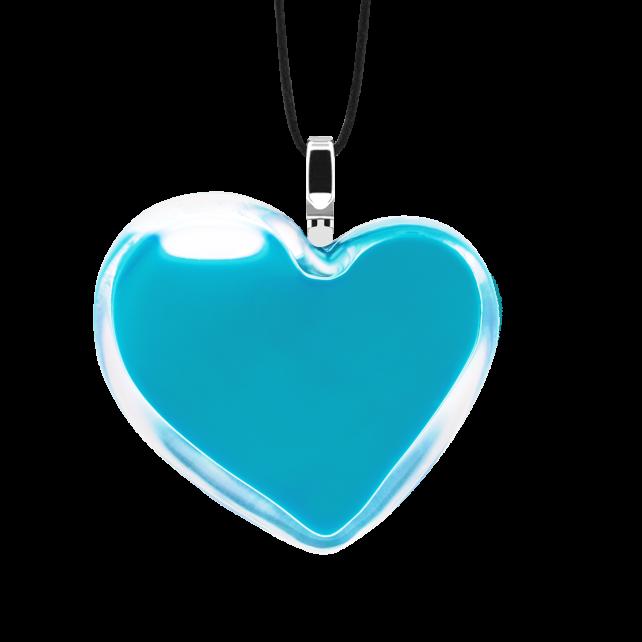 Pendentif en verre soufflé - Coeur Medium Milk Turquoise