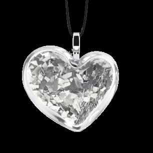 Pendentif en verre soufflé - Coeur Medium Paillettes