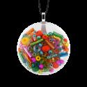 Pendentif en verre soufflé - Galet Mini Mix Perles