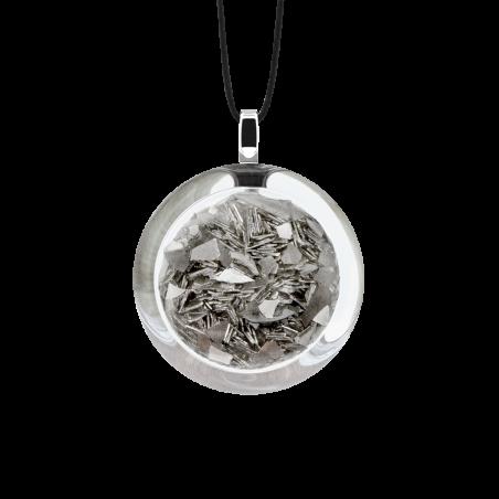 Pendentif en verre soufflé - Cachou Mini Paillettes Argent