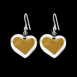 Boucles d'oreilles crochet en verre soufflées - Coeur Billes