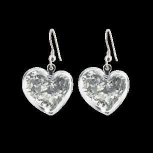 Boucles d'oreilles crochet en verre soufflées - Coeur Paillettes