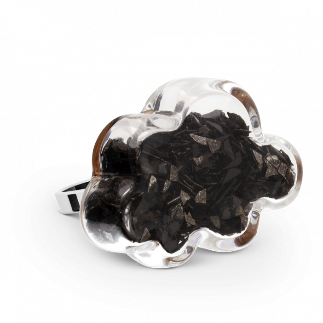 Bague en verre soufflée - Nuage Medium Paillettes