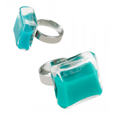 Carre Medium Milk - Bague en verre