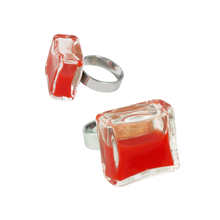 Bague en verre - Carré Medium Milk