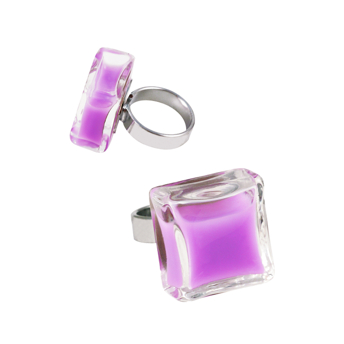 Carre Medium Milk - Bague en verre Lilas