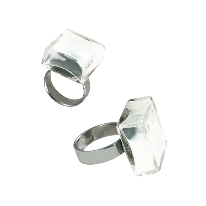 Carre Medium Milk - Bague en verre White