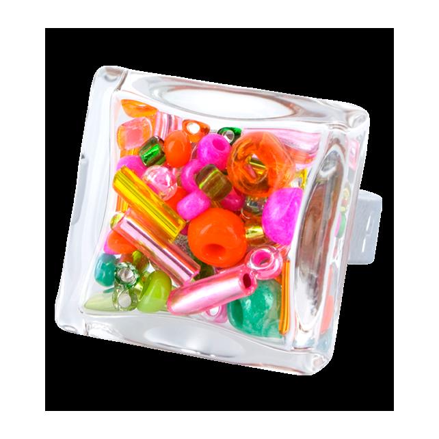 Glasring - Carré Medium Mix Perles Frühling