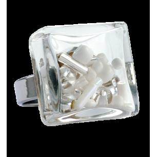 Glass ring - Carré Medium Mix Perles