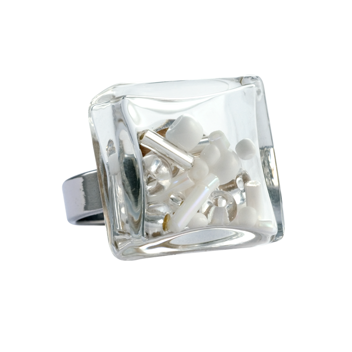 Carre Medium Mix Perles - Bague en verre Blanc