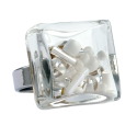 Bague en verre soufflée - Carré Medium Mix Perles