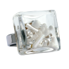 Carre Medium Mix Perles - Bague en verre White