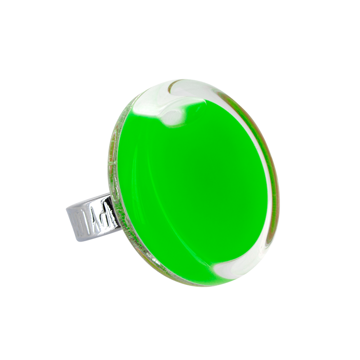 Anello in vetro - Cachou Medium Milk Verde scuro
