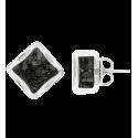 Losange Paillettes - Boucles d'oreilles clou Black
