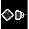Losange Paillettes - Boucles d'oreilles clou Noir