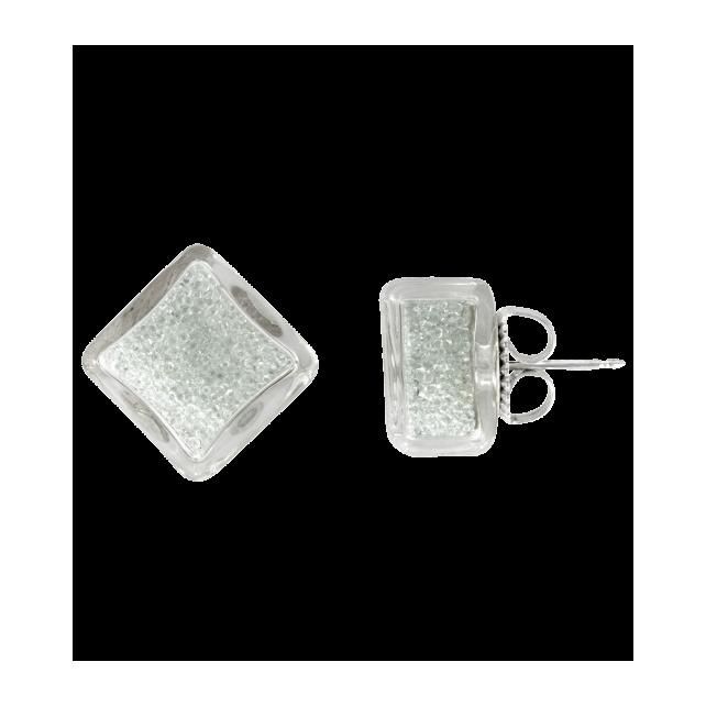 Stud earrings - Carré Billes Crystal