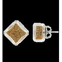 Stud earrings - Carré Billes Silver