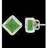 Carre Billes - Boucles d'oreilles clou Green