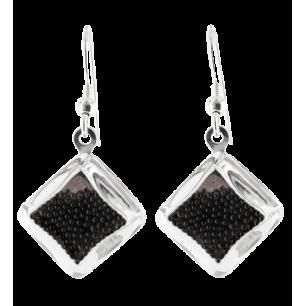 Boucles d'oreilles crochet en verre soufflées - Carré Billes
