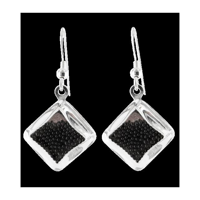Losange Billes - Boucles d'oreilles crochet Noir