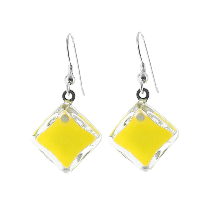 Losange Milk - Boucles d'oreilles crochet Yellow