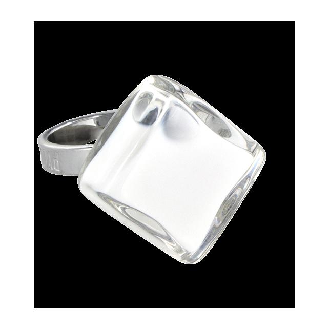 Losange Nano Milk - Anello in vetro Bianco