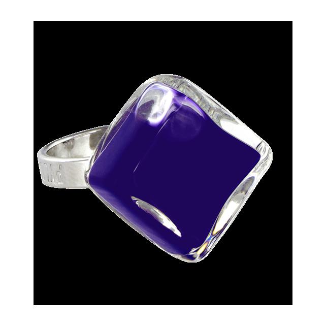 Glass ring - Losange Nano Milk