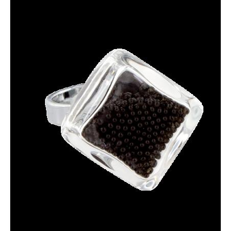 Glasring - Losange Nano Billes Königsblau