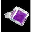 Bague en verre - Losange Nano Billes Bleu Foncé