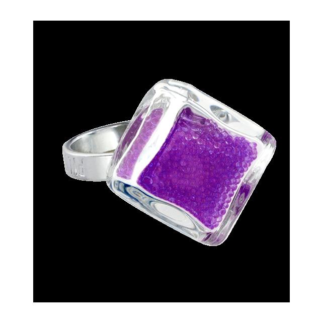 Bague en verre - Losange Nano Billes Violet