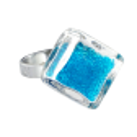 Bague en verre - Losange Nano Billes Vert