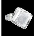 Bague en verre - Losange Nano Billes Rouge