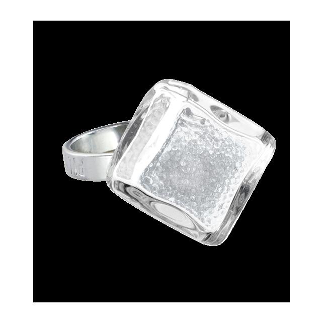 Bague en verre - Losange Nano Billes Cristal