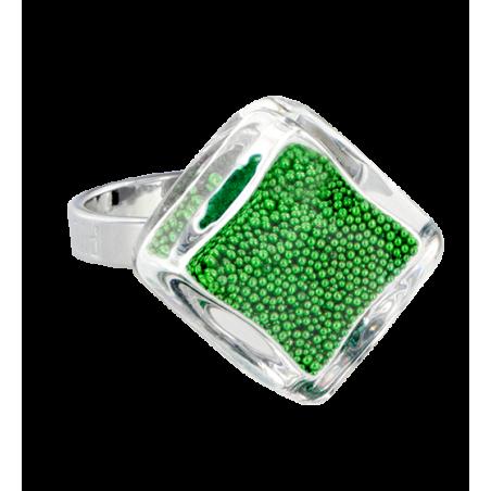 Bague en verre soufflée - Losange Nano Billes