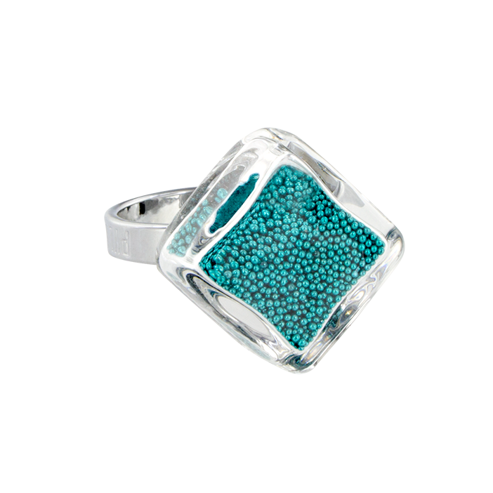 Losange Nano Billes - Glass ring Turquoise