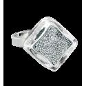 Bague en verre - Losange Nano Billes Fushia