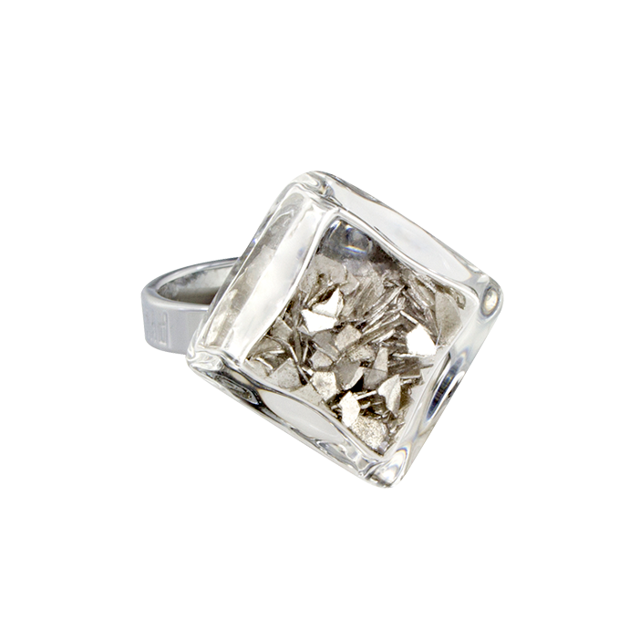 Losange Nano Paillettes - Glass ring Silver