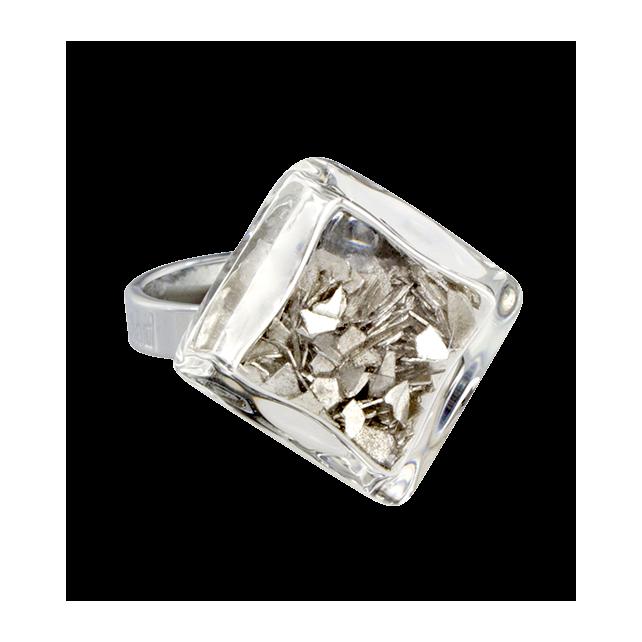 Anello in vetro - Losange Nano Paillettes Argento