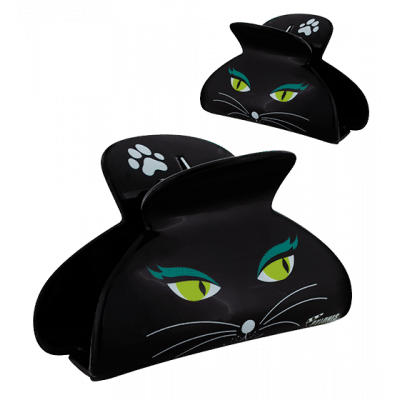 Pince à cheveux crabe - Ladyclip Large - Black Cat