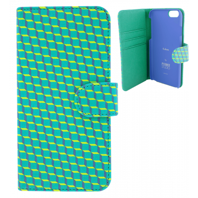 Flap cover for iPhone 6, 6S - Iwallet - Cubes