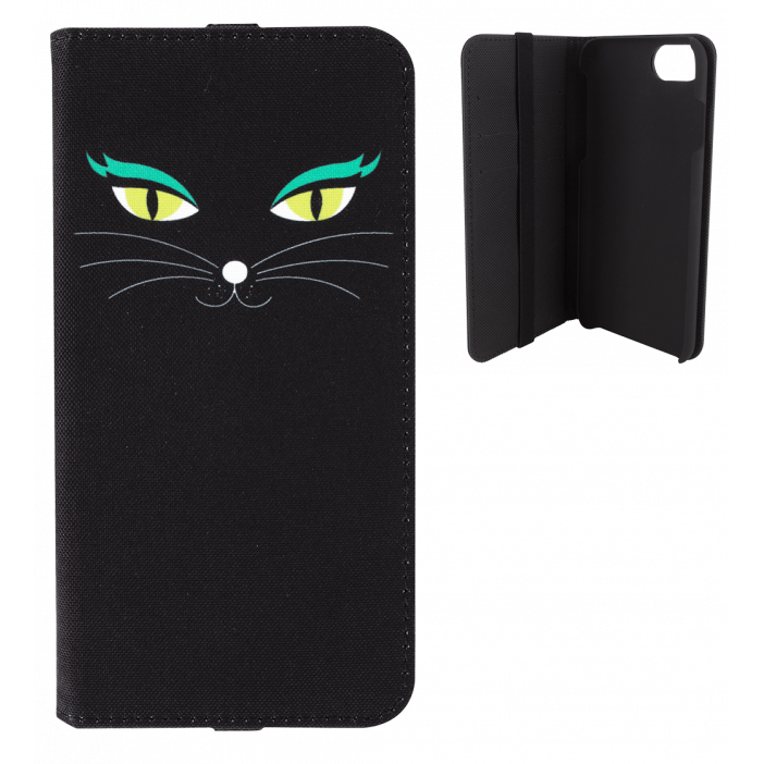 Flap cover/wallet case for iPhone 6, 6S, 7 - Iwallet 2 Black Cat