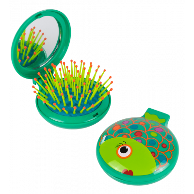 2 in 1 hairbrush and mirror - Lady Retro - Fish