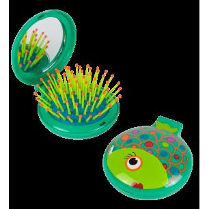 Brosse à cheveux miroir 2 en 1 - Lady Retro - Fish