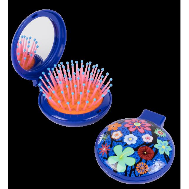 Spazzola per capelli con specchio - Lady Retro Blue Flower