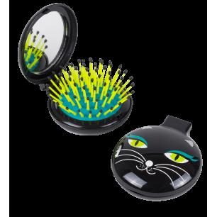 Haarbürste mit Spiegel 2 in 1 - Lady Retro - Black Cat