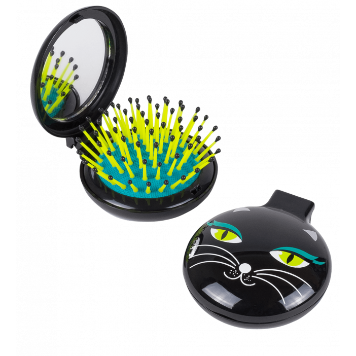 Haarbürste mit Spiegel 2 in 1 - Lady Retro Black Cat