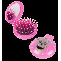 Brosse à cheveux miroir 2 en 1 - Lady Retro Blue Flower
